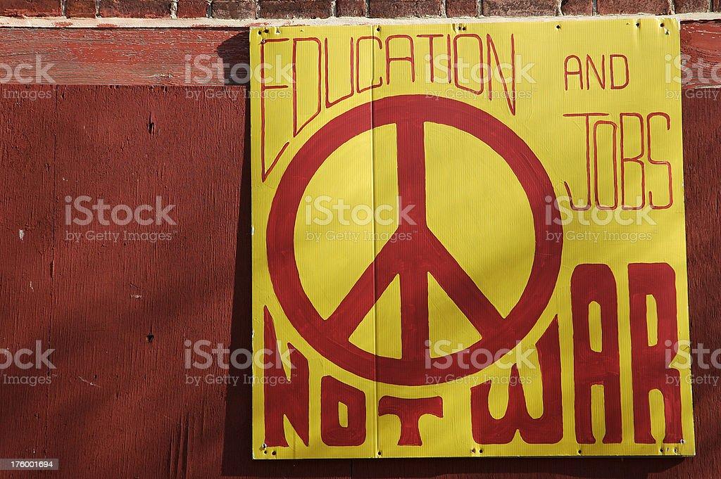 Education, Not War royalty-free stock photo