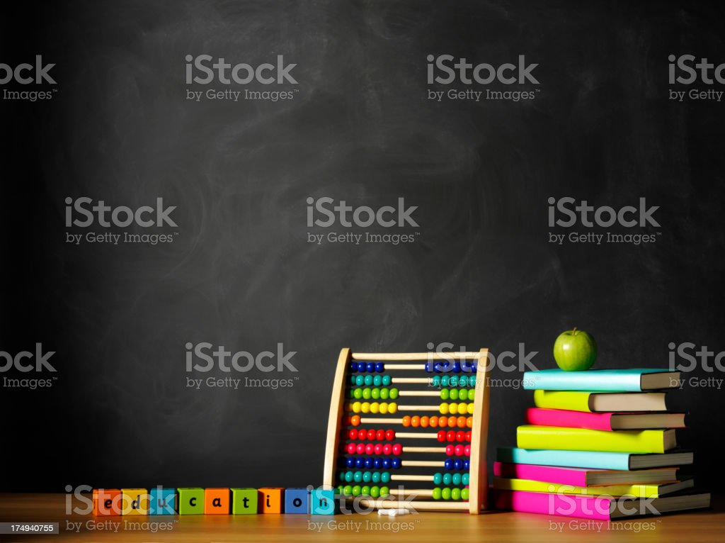 Education on Bricks with a Abacus and Blackboard royalty-free stock photo