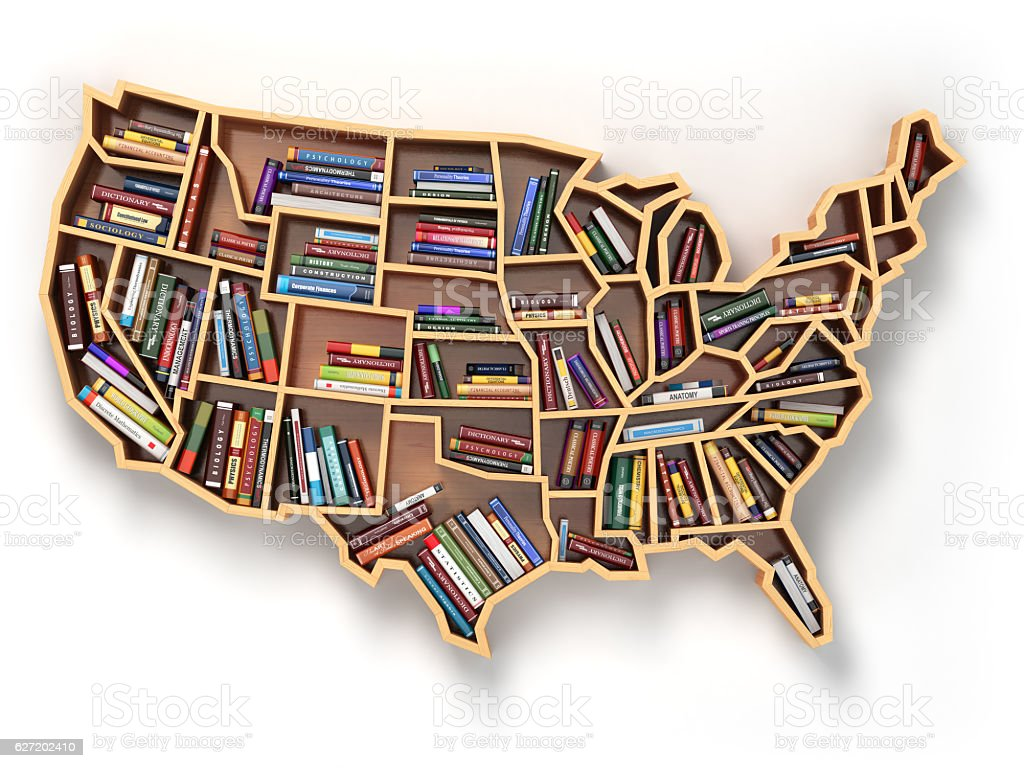USA education or market of books. Book shelf  USA map stock photo