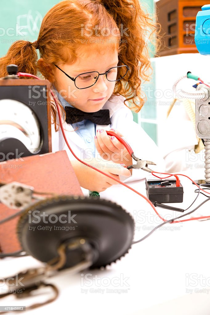 Education:  Retro revival scientist in science lab. Electronics. royalty-free stock photo