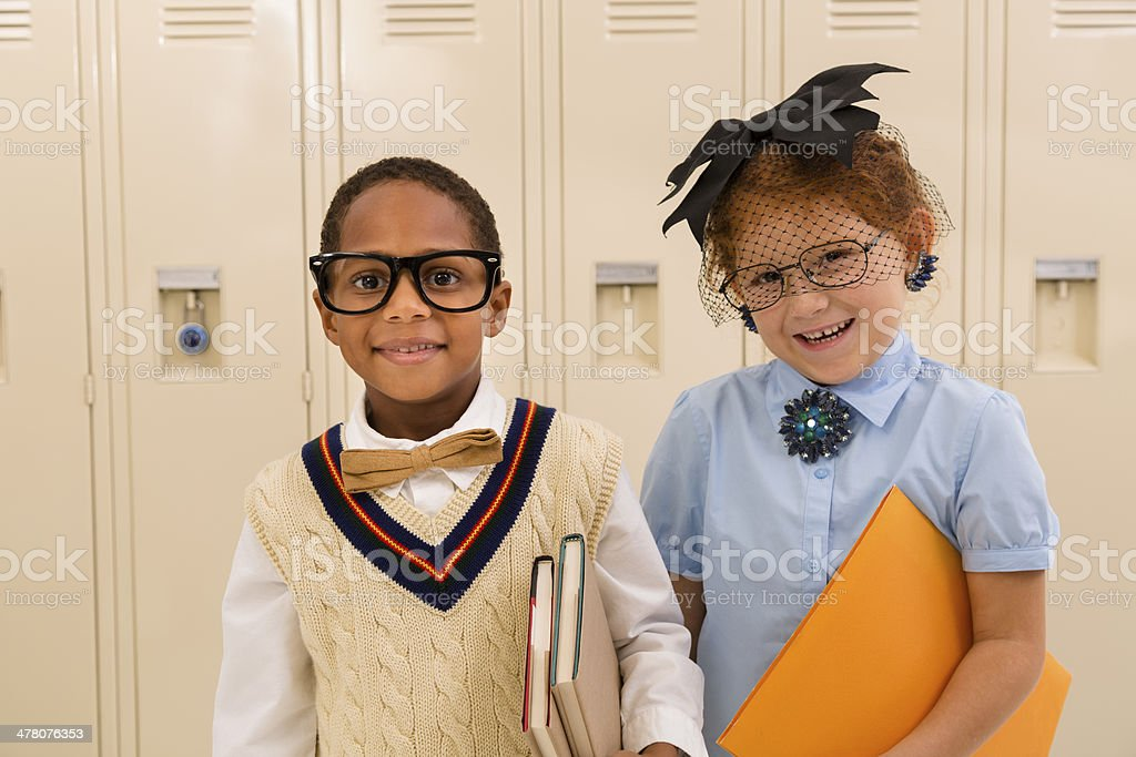 Education:  Retro-revival students in front of lockers. royalty-free stock photo