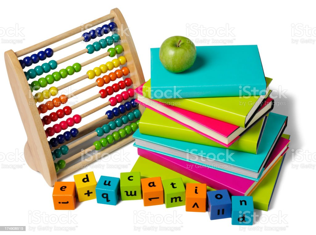 Education with a Abacus and pile of Colourful Books royalty-free stock photo