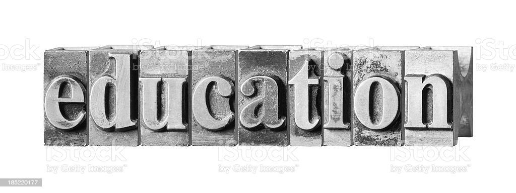 Education written in metal printing press letters royalty-free stock photo