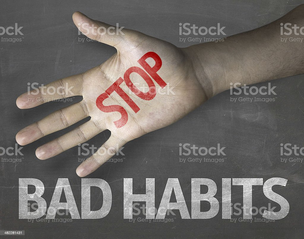 Educational and Creative composition with the message Stop Bad Habits stock photo