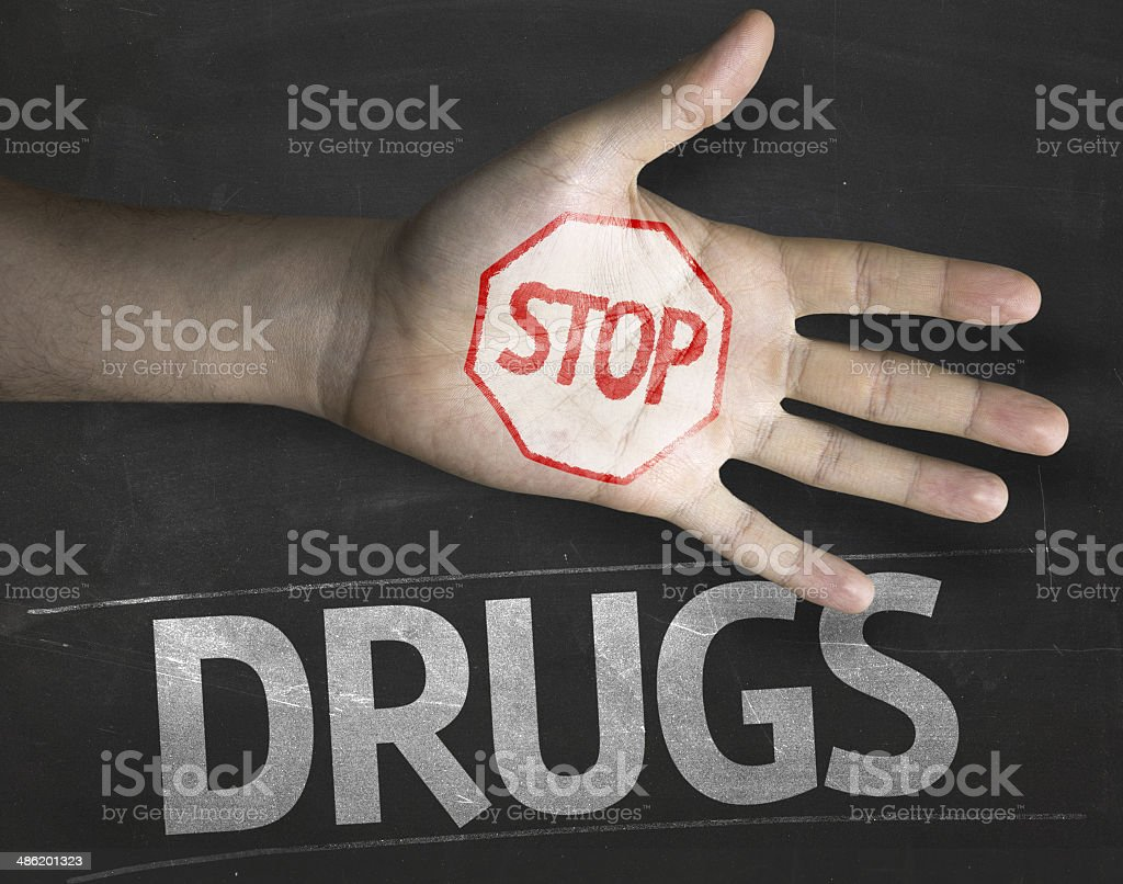 Educational and Creative composition with the message Stop Drugs stock photo