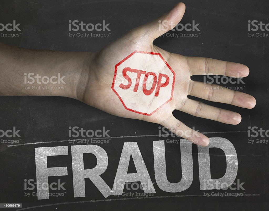 Educational and Creative composition with the message Stop Fraud stock photo