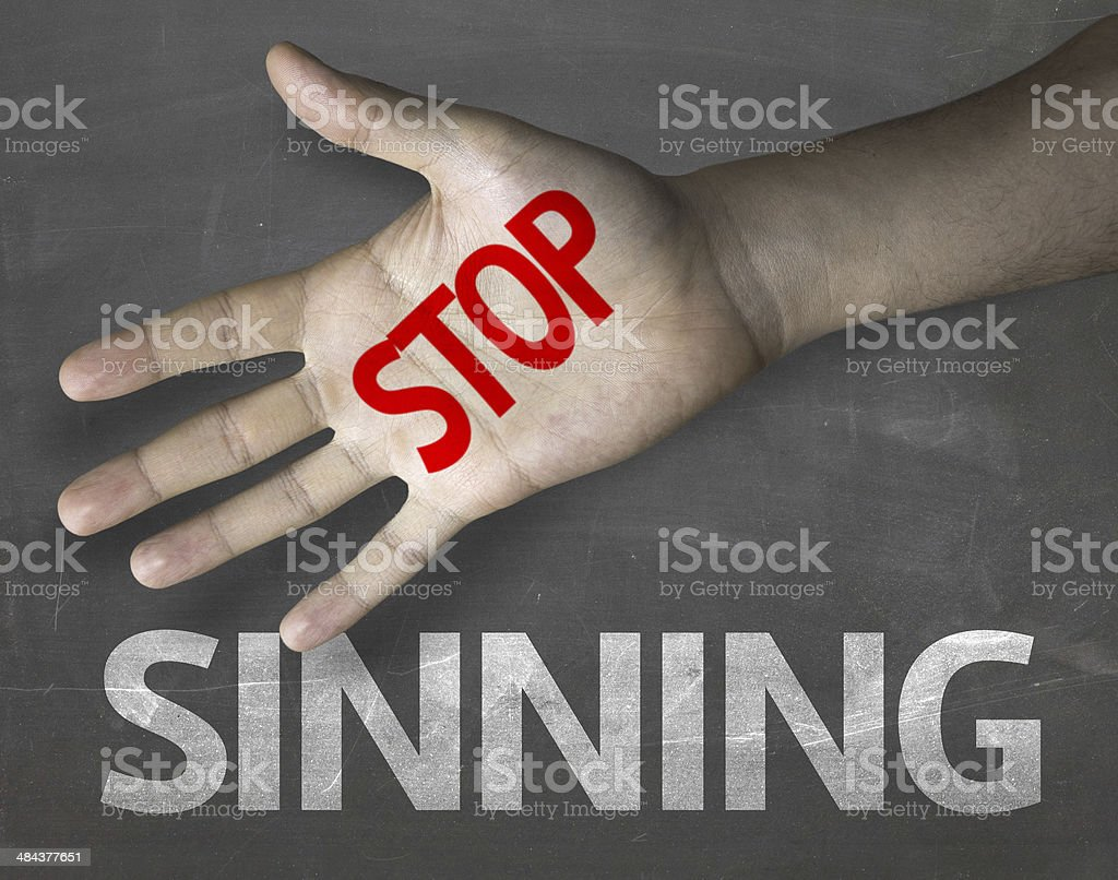 Educational and Creative composition with the message Stop Sinning royalty-free stock photo