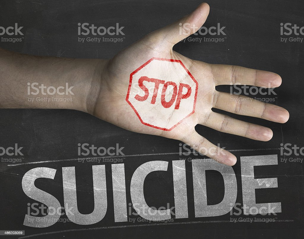 Educational and Creative composition with the message Stop Suicide stock photo
