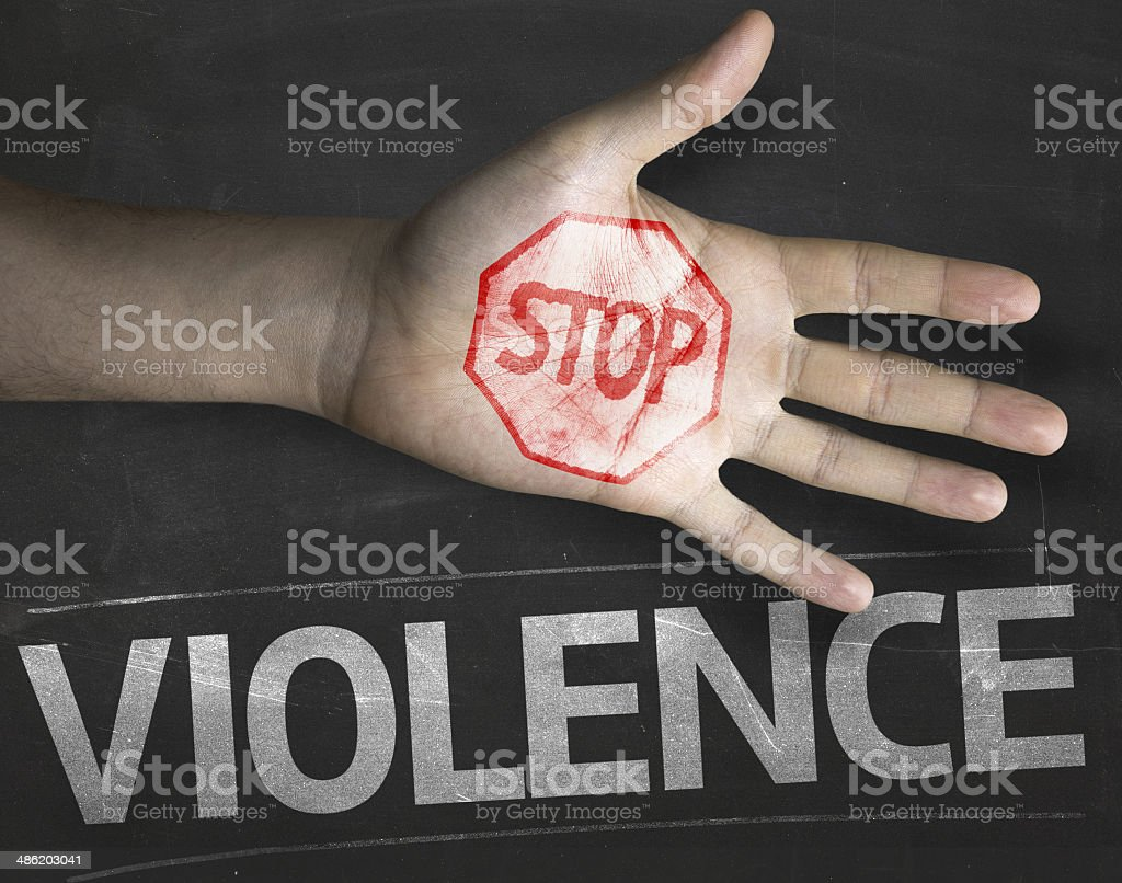 Educational and Creative composition with the message Stop Violence stock photo