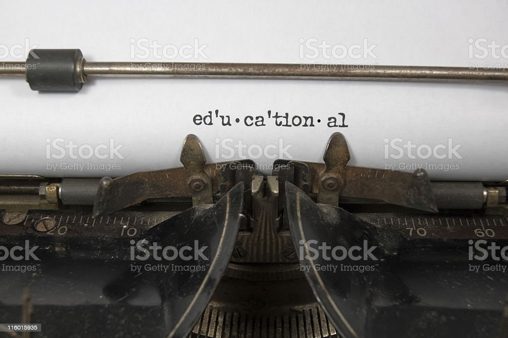 Educational .... Room for Copy on antique typewriter royalty-free stock photo