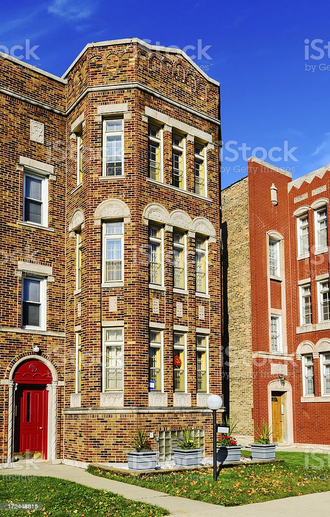 Edwardian Apartment Building, Calumet Heights, Chicago royalty-free stock photo