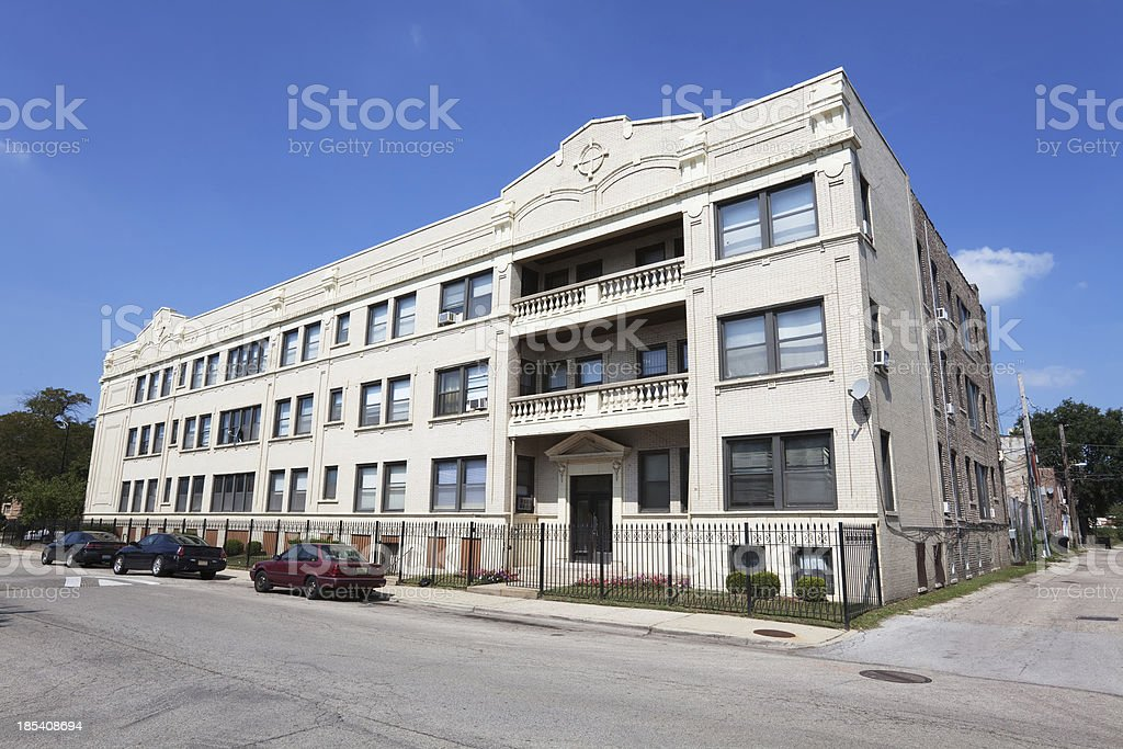 Edwardian apartment building in Grand Boulevard, Chicago stock photo