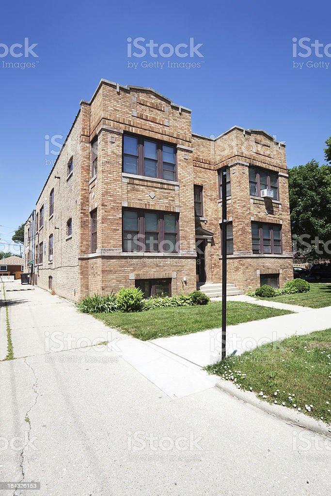 Edwardian apartment building in Jefferson Park, Chicago stock photo