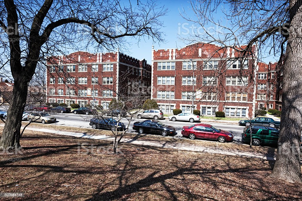 Edwardian Apartment Buildings viewed from Marquette Park, Chicag royalty-free stock photo