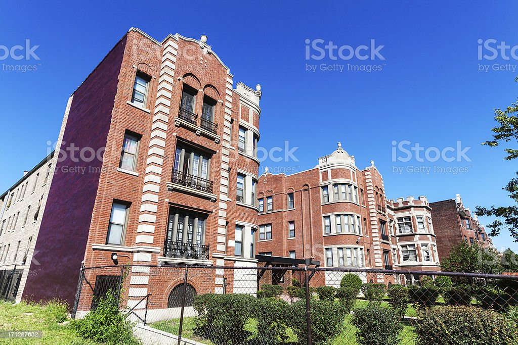 Edwardian apartment complex, Kenwood, Chicago stock photo