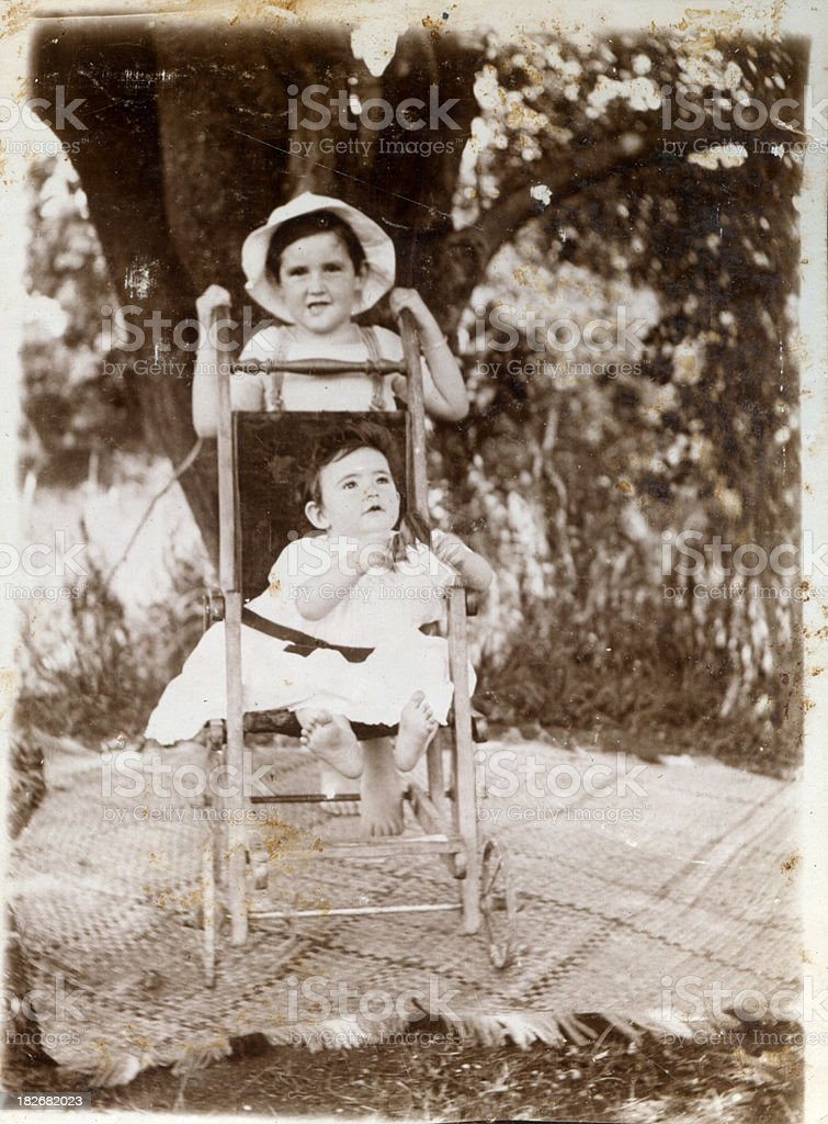 Edwardian brother and sister royalty-free stock photo