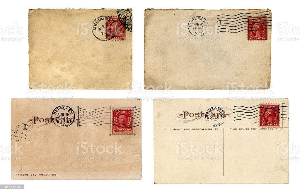 Edwardian era US mail - envelopes and postcards royalty-free stock photo