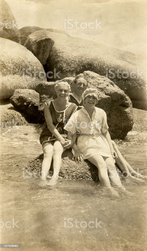 Edwardian Family on Holiday at the Beach stock photo