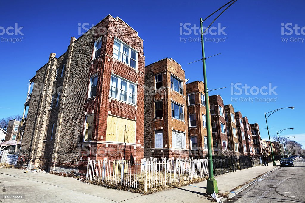 Edwardian Flats in East Garfield Park, Chicago stock photo
