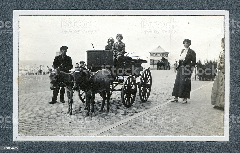 Edwardian Holiday Children and Donkey Carriage - Vintage Photograph royalty-free stock photo