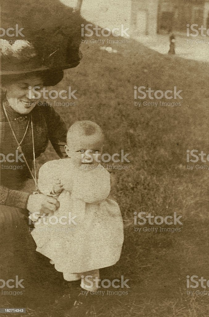 Edwardian Mother and Child Old Photograph royalty-free stock photo