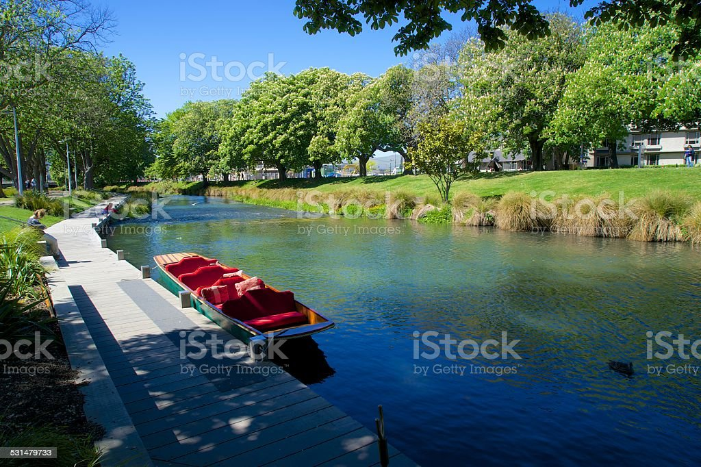 Edwardian punting on the Avon river, Christchurch (NZ) stock photo