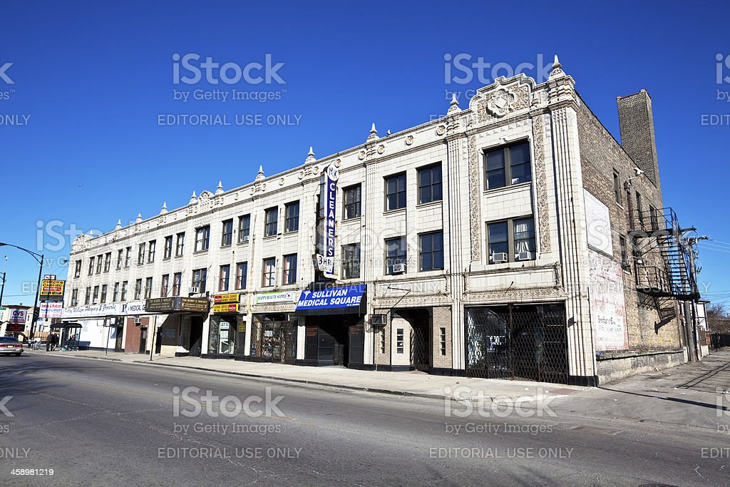 Edwardian Shop Building in East Garfield Park, Chicago stock photo