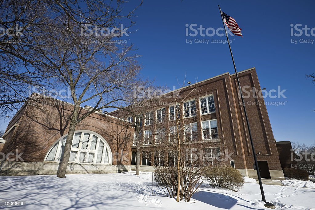 Edwardian Style School in Chicago stock photo