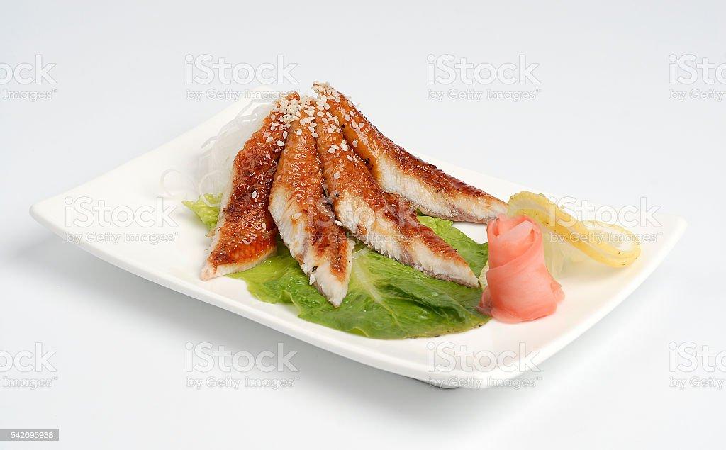 Eel sashimi on a white plate stock photo
