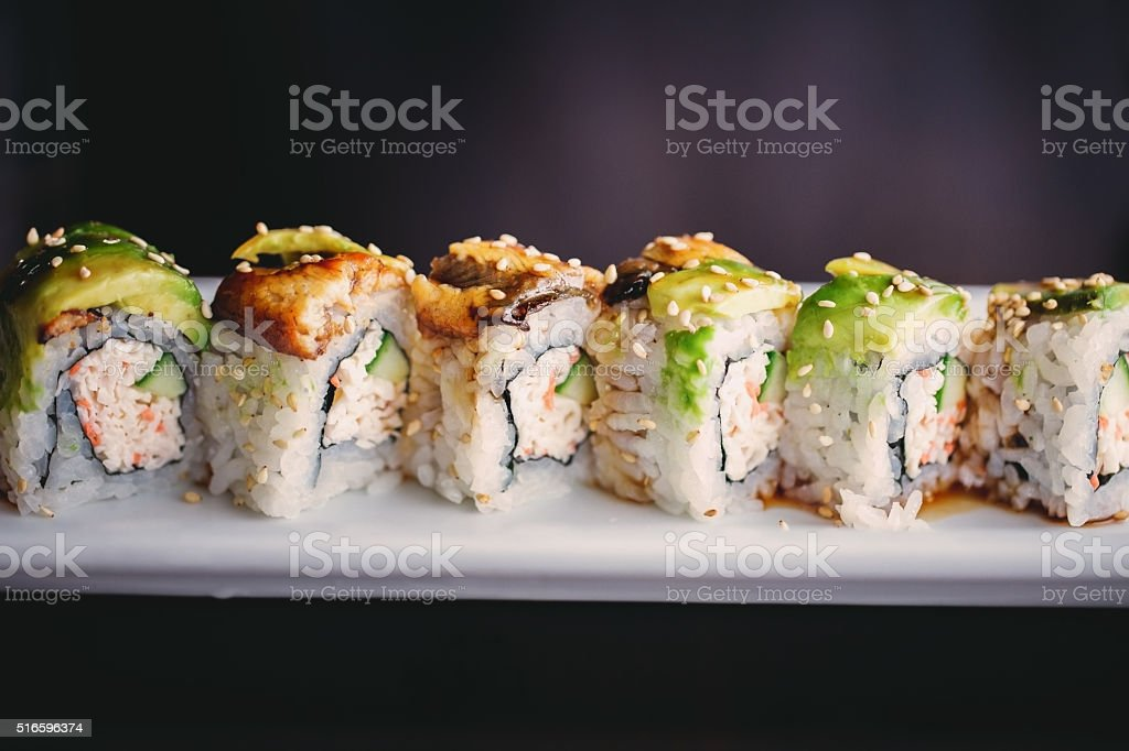 Eel sushi roll stock photo