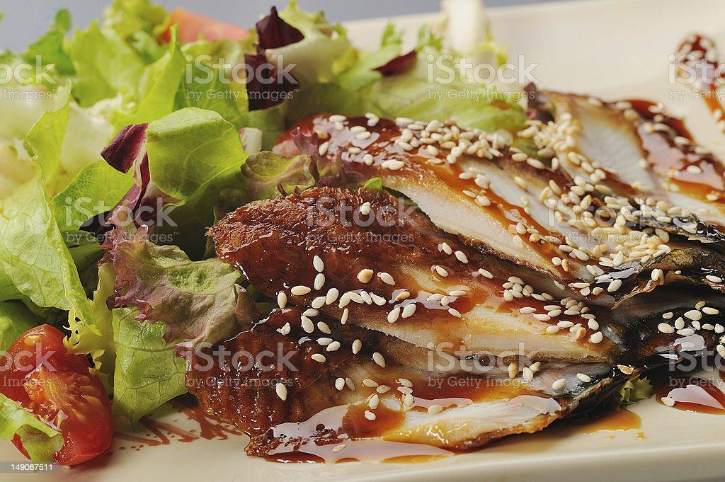 Eel with sesame stock photo