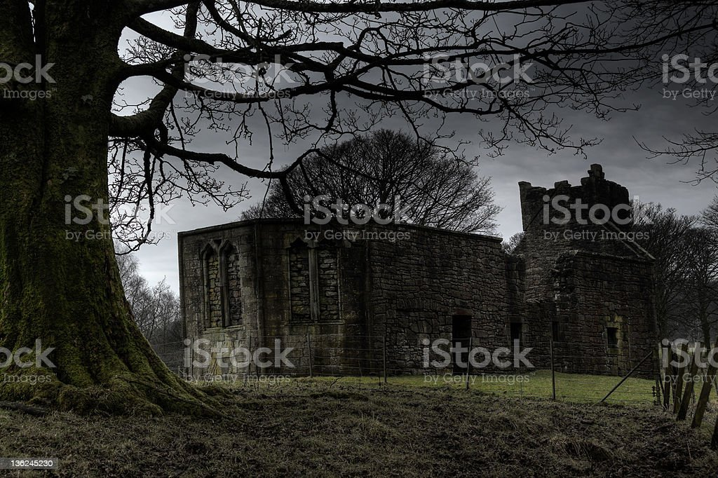 Eerie Church ruin stock photo