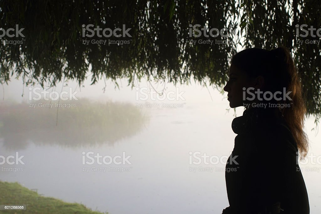 Misty silhouette with overhanging willow Russian outdoor girl stock photo