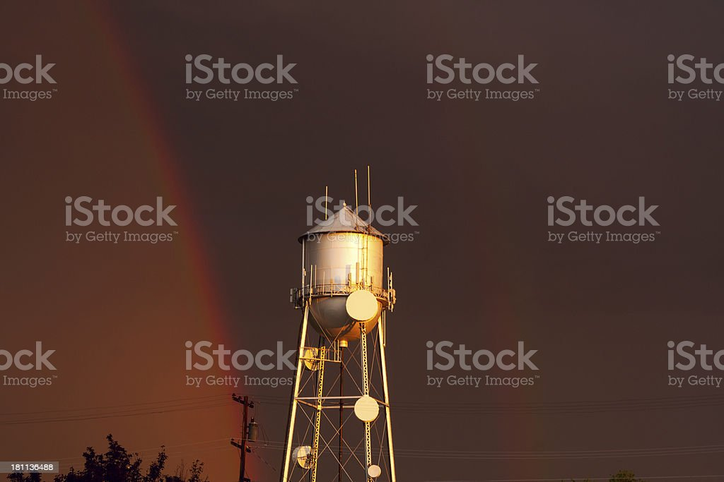 Eerington Water Tower Double Rainbow stock photo