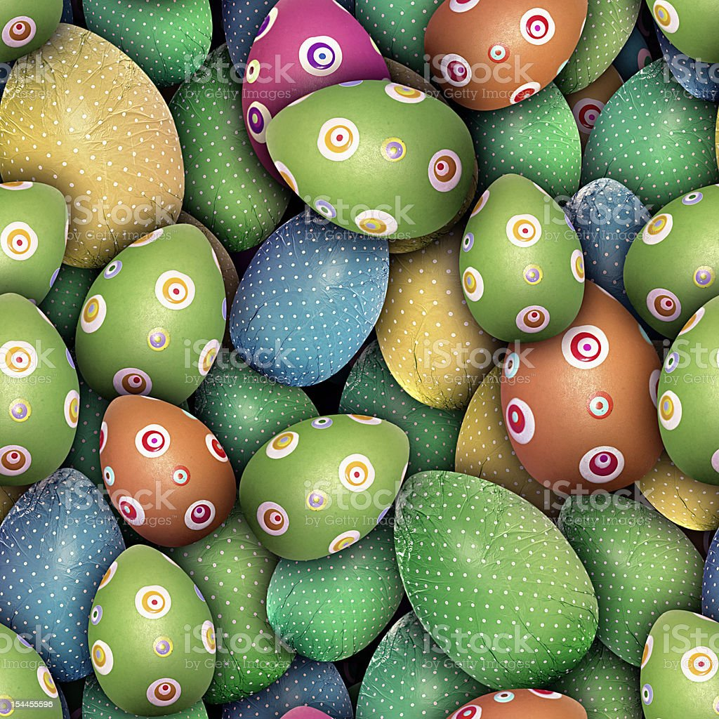 Effect Dotted and circled Easter eggs (Seamless texture) stock photo