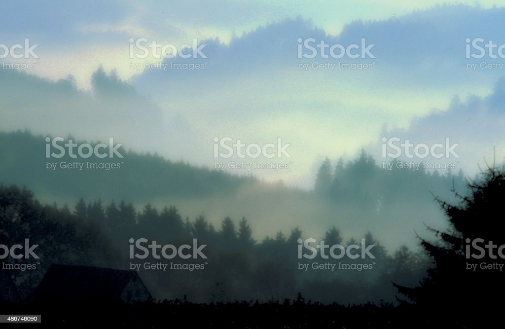 Effect: fog landscape in soft focus as a background motive stock photo