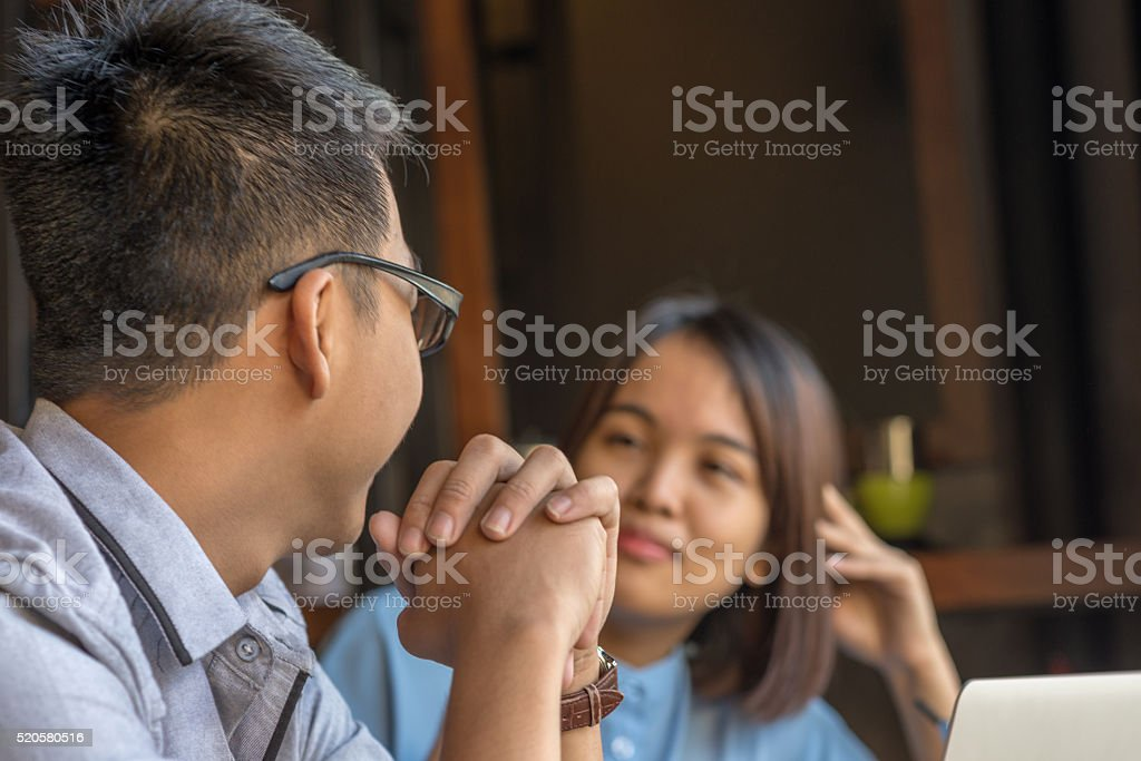 Effective communication between people makes they understand each other more stock photo