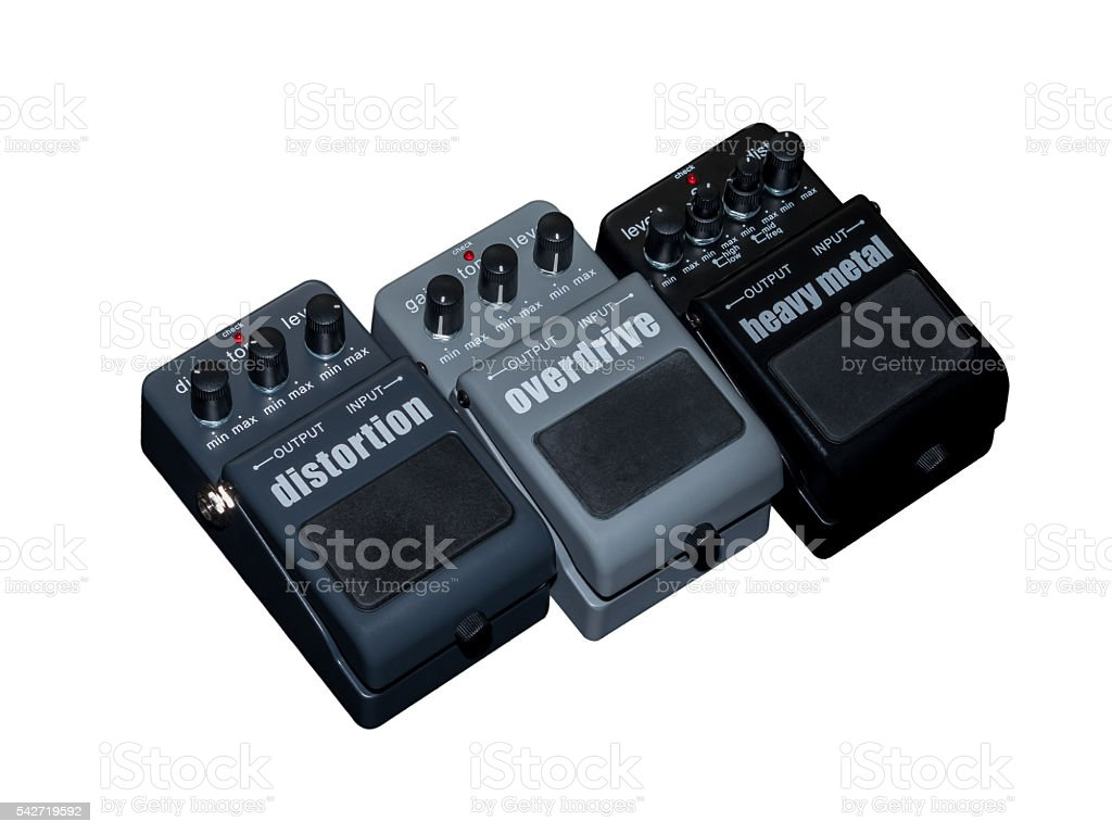 Effects Guitar Pedal , Heavy Metal, Overdrive and Distortion stock photo