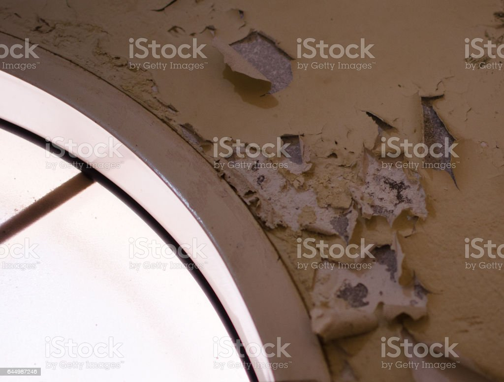 Effects of Water Leakage on Wall and Paint stock photo