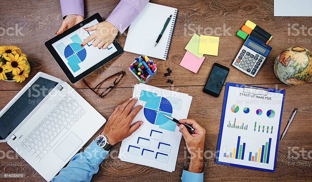 Efficiency and teamwork in corporate structures stock photo