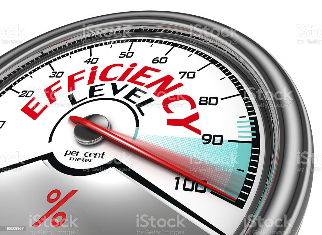 efficiency level conceptual meter stock photo
