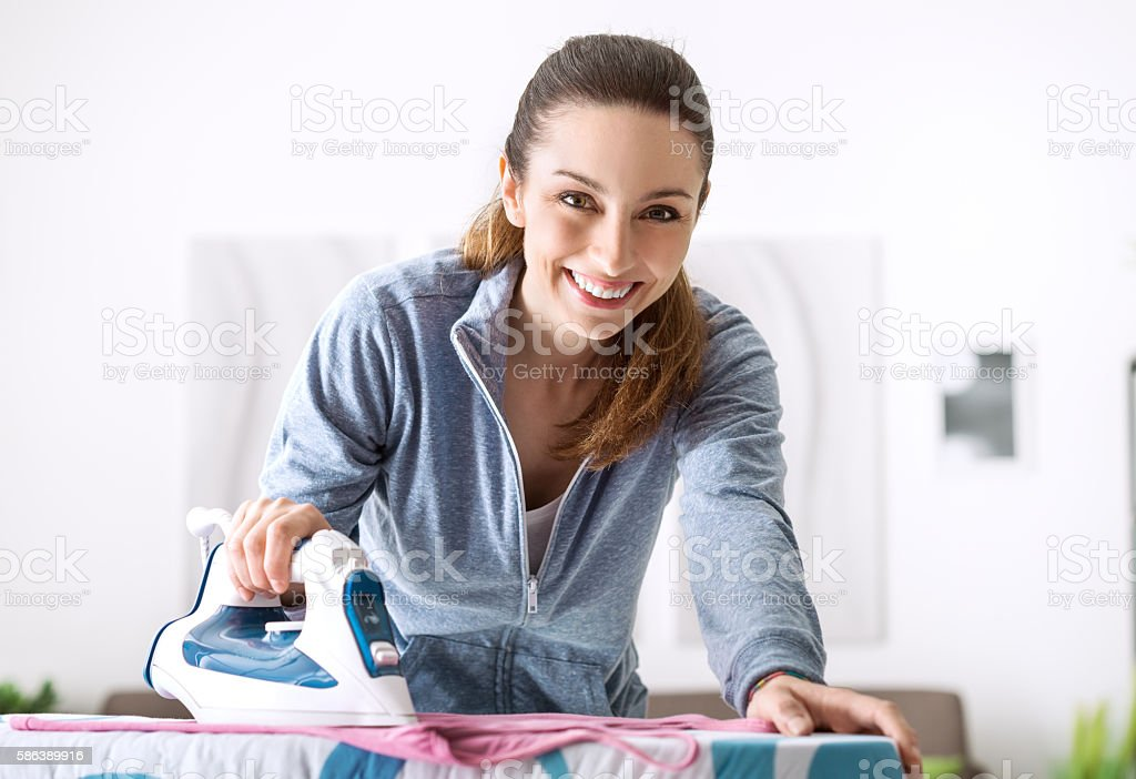 Efficient housewife stock photo