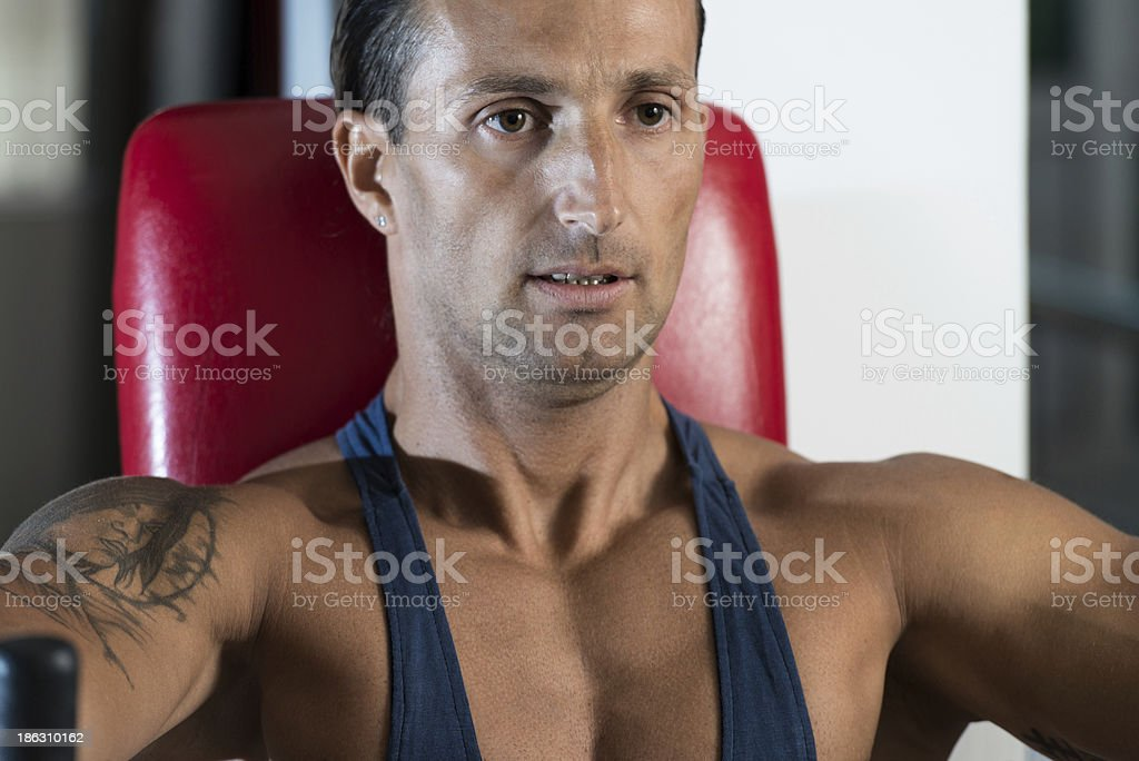 Effort On The Bench Press Exercise Machine royalty-free stock photo