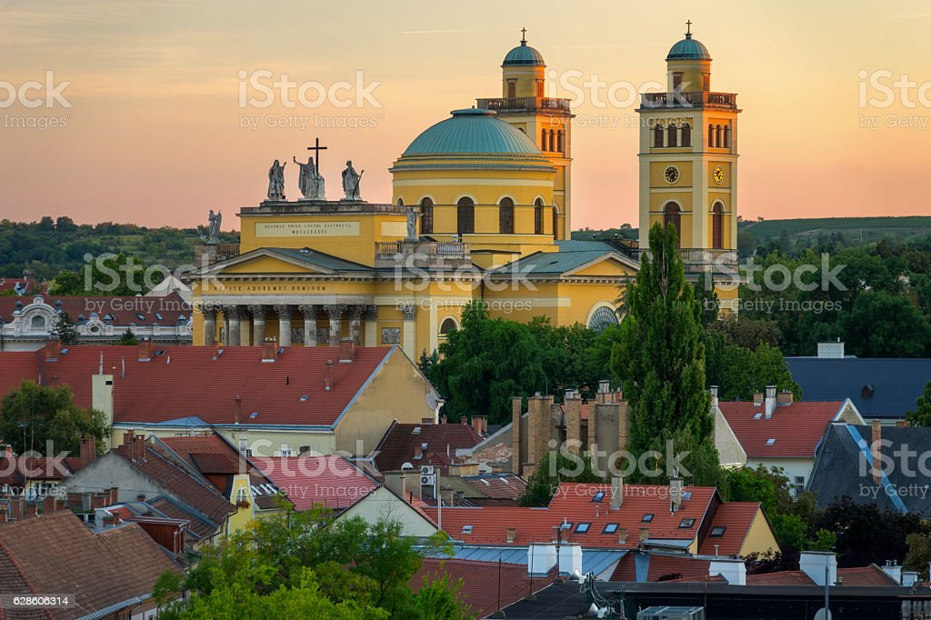 Eger Hungary, Cathedral stock photo