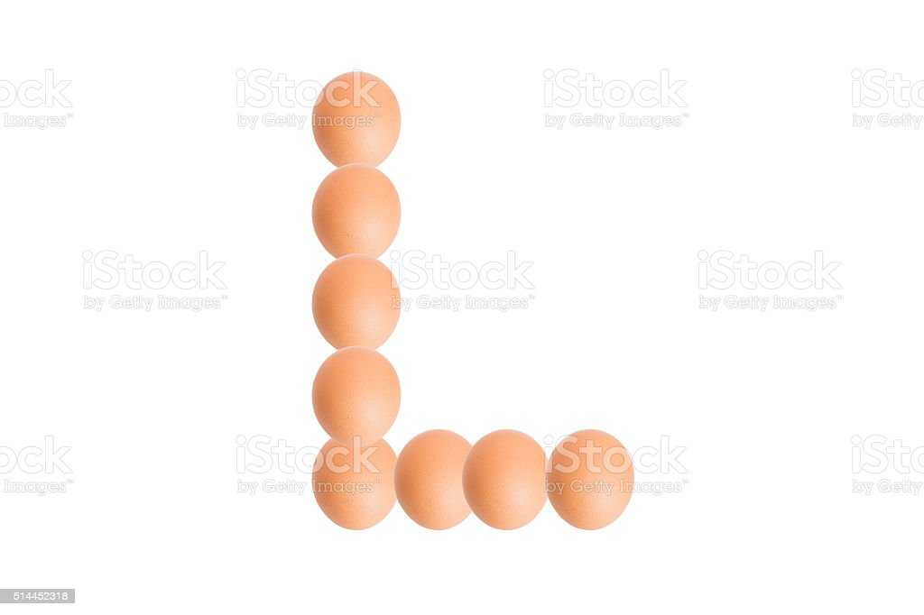(L)Egg alphabet Capital letter. stock photo