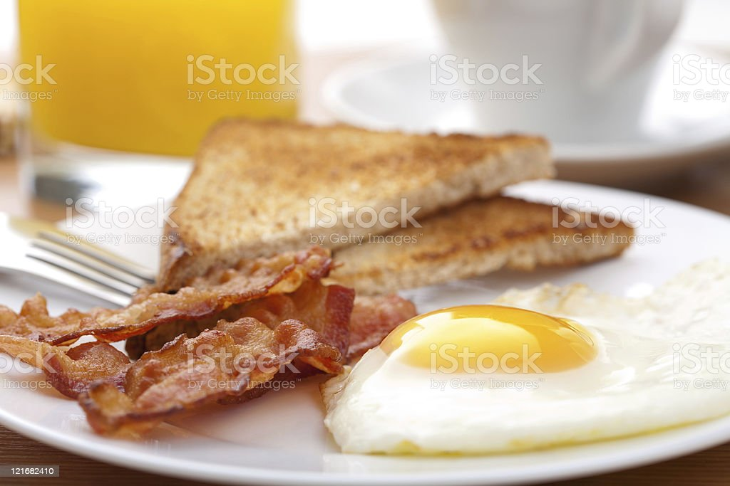 egg and bacon with toast stock photo