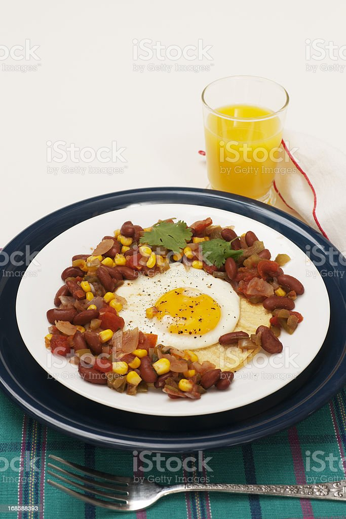 Egg and Bean Tortilla Plate stock photo