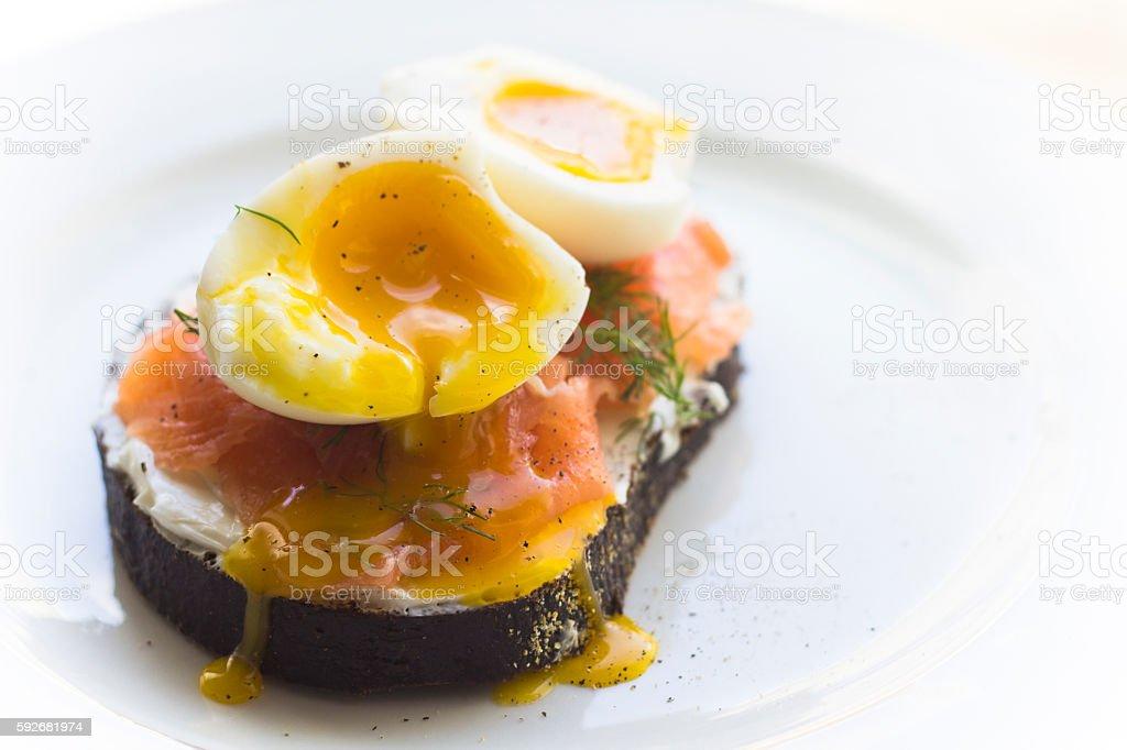 Egg and Salmon Toast stock photo