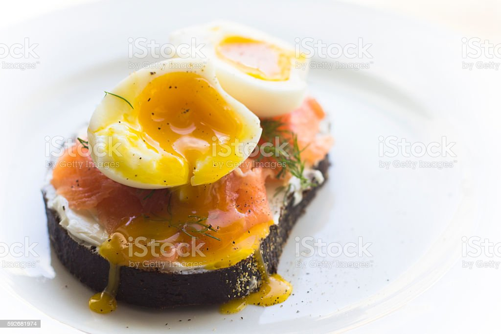 Egg and Salmon Toast stock photo