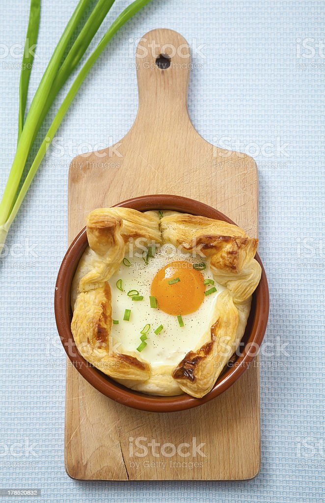 Egg baked in puff pastry royalty-free stock photo